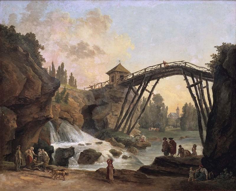 Draughtsman Drawing the Wooden Bridge in the Park of Méréville. Hubert Robert