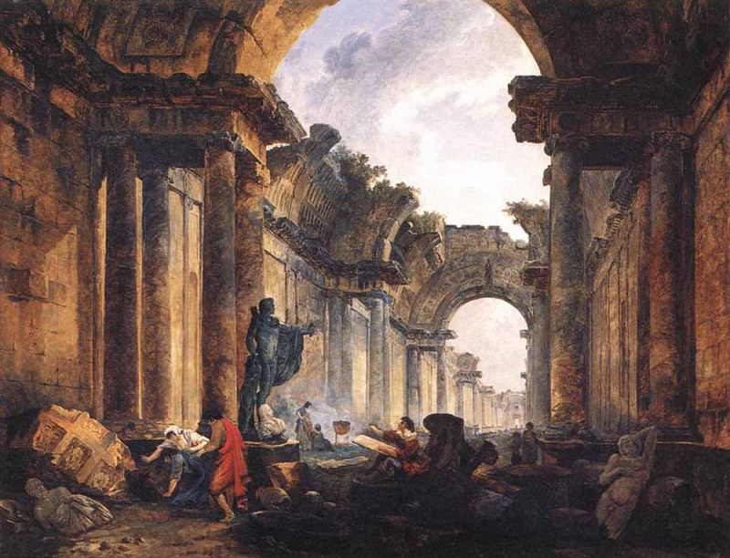 Imaginary View Of The Grande Galerie In The Louvre In Ruins. Hubert Robert