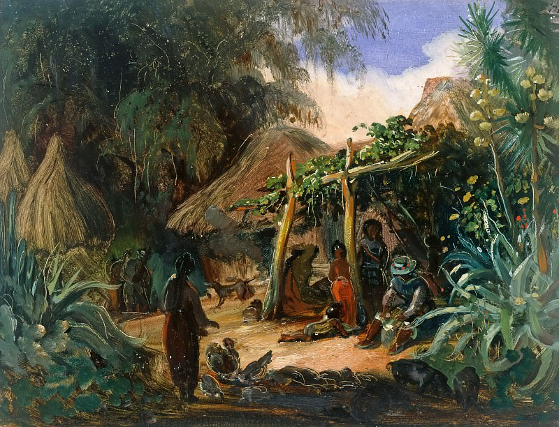 Native Huts in the Village of Jalcomulco. Johann Moritz Rugendas