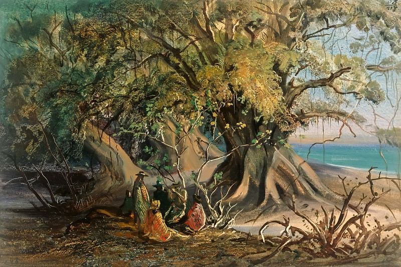 Spit of Land near El Manzanillo. Natives under Tropical Trees. Johann Moritz Rugendas