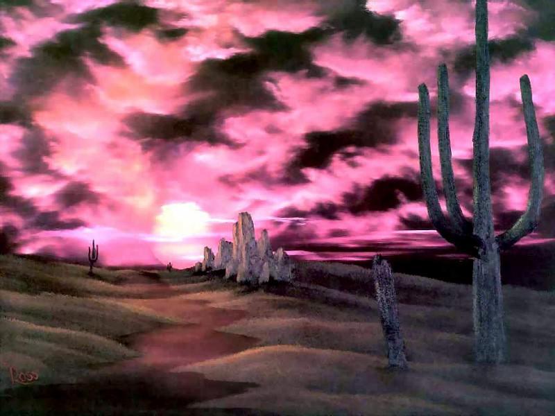 bob ross csg048 cactus at sunset. Боб Росс