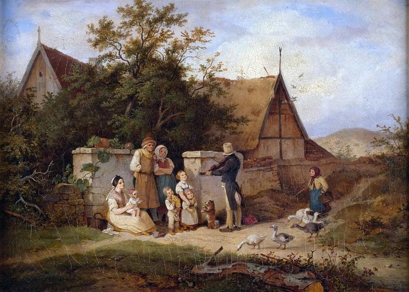 Village Violinist. Adrian Ludwig Richter