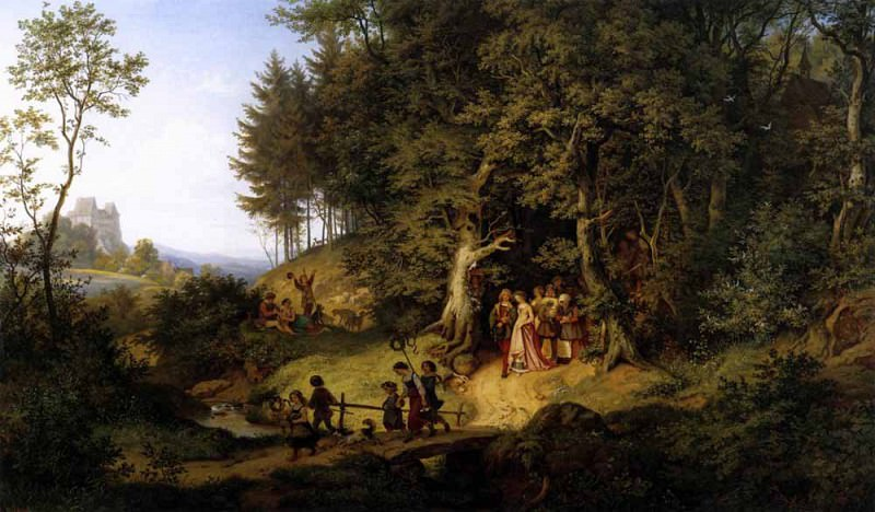 RICHTER Adrian Ludwig Bridal Procession In A Spring Landscape. Адриан Людвиг Рихтер