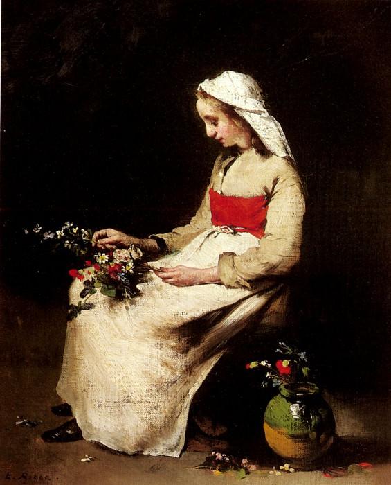 Девочка, собирающая вазу с цветами. Огюстен Теодюль Рибо
