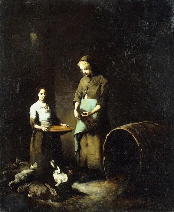 Молодые Крестьянские девушки, кормящие домашних животных. Огюстен Теодюль Рибо