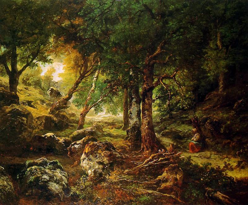 Rousseau Thйodore Forest landscape Sun. Pierre Etienne Theodore Rousseau