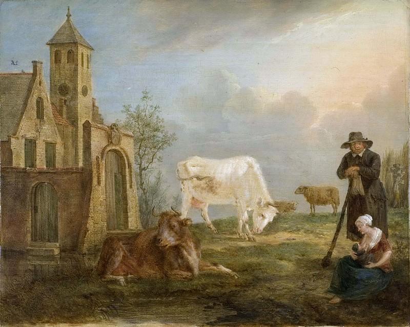 Landscape with Peasants and Cows. Petrus van Regemorter