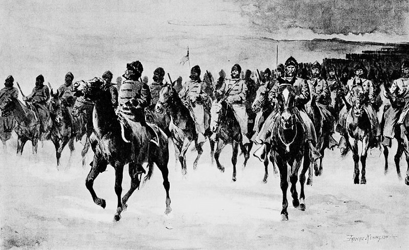 Fr 047 Miles Army at Pine Ridge--The Cavalry FredericRemington sqs. Frederick Remington