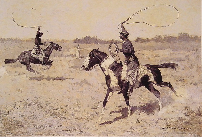 It was to be a lasso duel. Frederick Remington