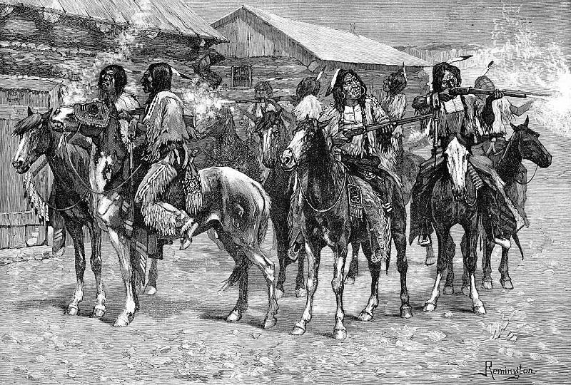Fr 037 Crow Indians Fire into the Agency FredericRemington sqs. Фредерик Ремингтон
