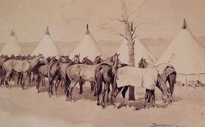 A Troop Picket Line. Фредерик Ремингтон