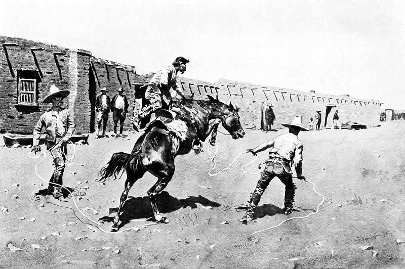 Fr 012 Mexican Vaqueros Breaking a Bronc FredericRemington sqs. Фредерик Ремингтон