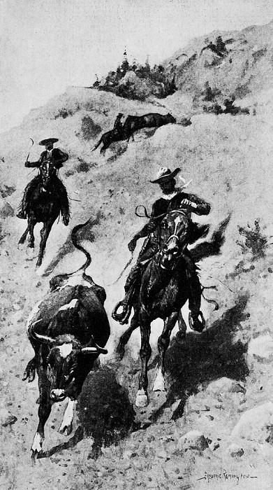Перегон быка среди холмов. Фредерик Ремингтон
