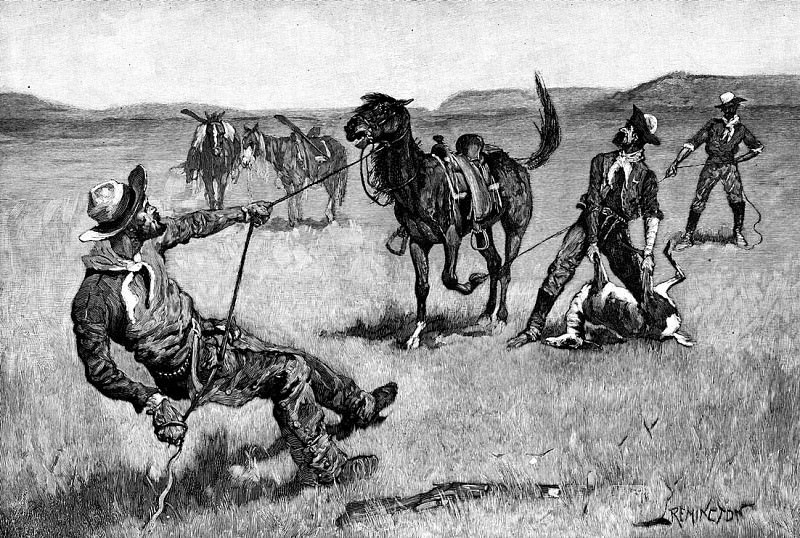 Fr 054 Teaching a Mustang Pony to Pack Dead Game FredericRemington sqs. Фредерик Ремингтон