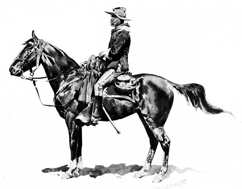 Fr 025 U.S. Cavalry Officer on Campaign FredericRemington sqs. Фредерик Ремингтон
