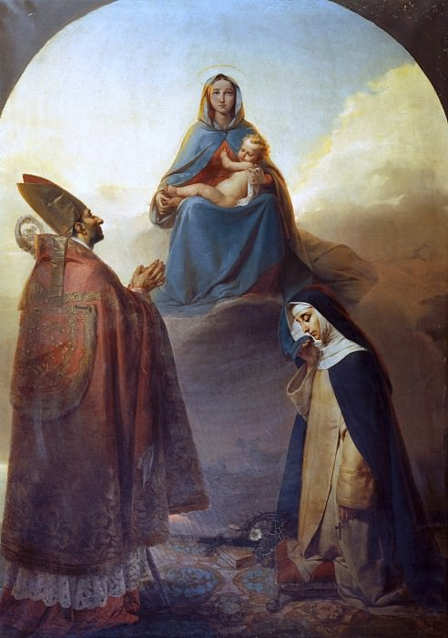 The Virgin with her divine Son and Saints Charles Borromeo and Catherine of Siena. Angelo Ribossi