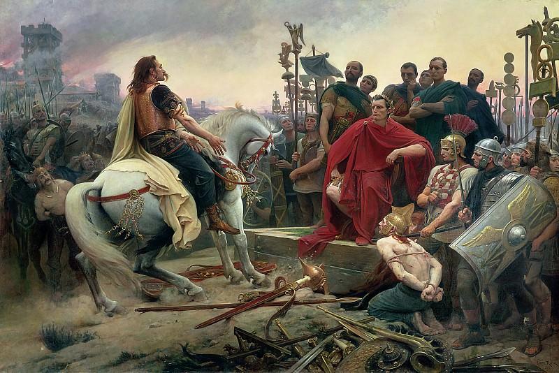Верцингеторикс опускает руки к ногам Юлия Цезаря. Лионель-Ноэль Руайе
