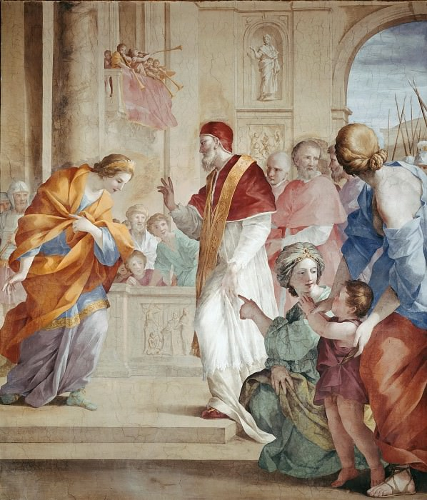 Meeting between Duchess Mathilde and Pope Gregory VII. Giovanni Francesco Romanelli