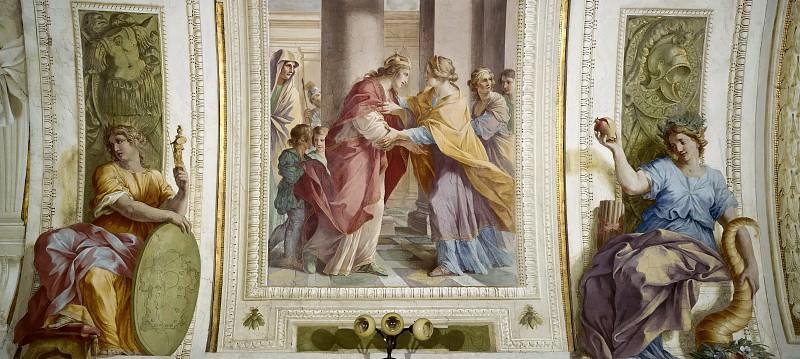 Встреча Марии и Елизаветы в обрамлении аллегорических фигур. Джованни Франческо Романелли