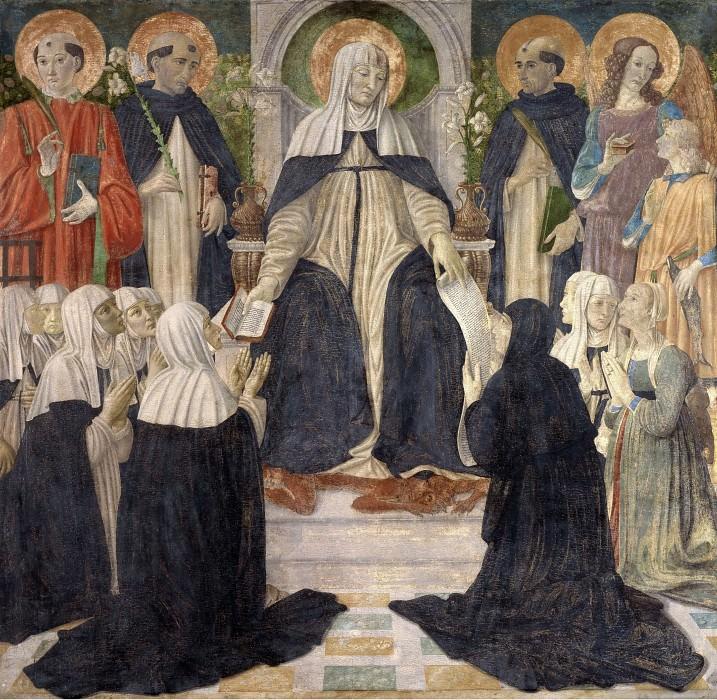 Святая Екатерина Сиенская в образе вдохновительницы Второго и Третьего Ордена святого Доминика. Козимо Росселли