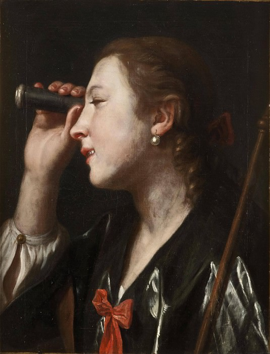 Girl Looking through a Telescope. Pietro Rotari