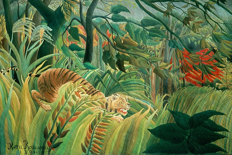 Tiger in a Tropical Storm (Surprised!), Rousseau, 1891 - 160. Henri Rousseau