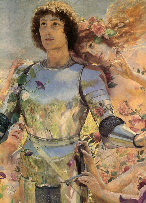 The Knight of the Flowers detail left. Georges Antoine Rochegrosse