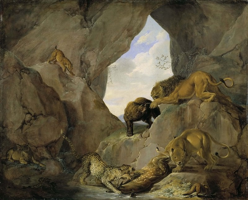 Wild Animals in a Mountain Gorge. Carl Borromaus Andreas Ruthart