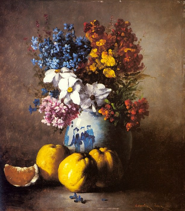 Ribot Germaine Theodore A Still Life With A Vase Of Flowers And Fruit. Жермен Теодуле Климент Рибо