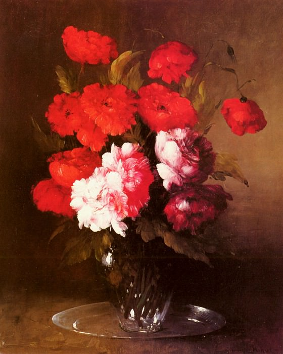 Ribot Germain Theodore Pink Peonies And Poppies In A Glass Vase. Жермен Теодуле Климент Рибо