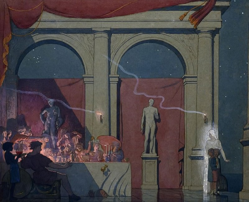 Tyltyl turns the Diamond in The Palace of Luxury. Frederick Cayley Robinson