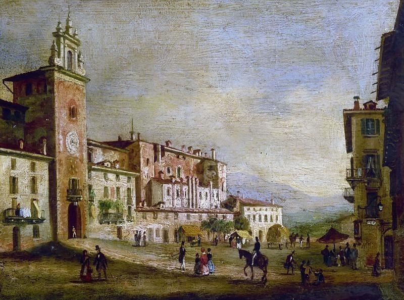 Вид на площадь Маскерони в Бергамо. Костантино Роза
