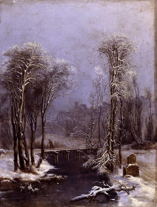 Зимний пейзаж с ручьём. Костантино Роза