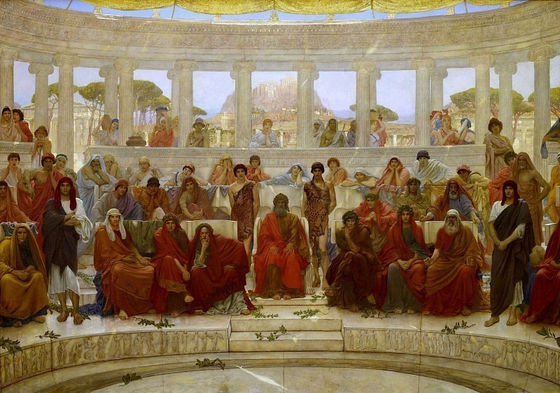 An Audience in Athens During Agamemnon by Aeschylus. Sir William Blake Richmond