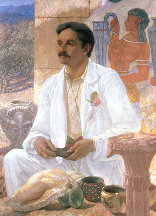 Portrait of Sir Arthur John Evans (1851-1941) among the ruins of the Palace of Knossos. Sir William Blake Richmond