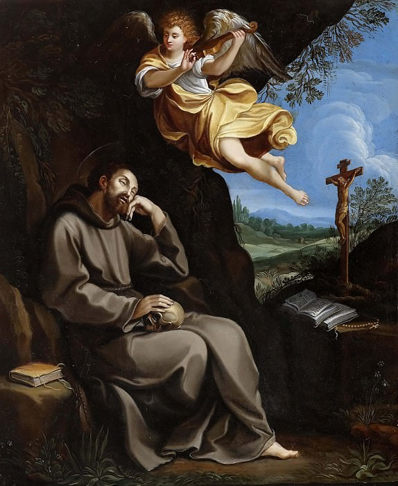 St. Francis meditating with a musical angel. Guido Reni
