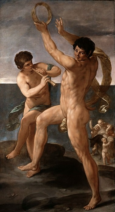TWO FAUNS IN A BACCHIC DANCE, THE DRUNKEN SILENUS. Guido Reni