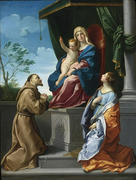 THE VIRGIN AND CHILD ENTHRONED WITH SAINTS FRANCIS AND CATHERINE. Guido Reni