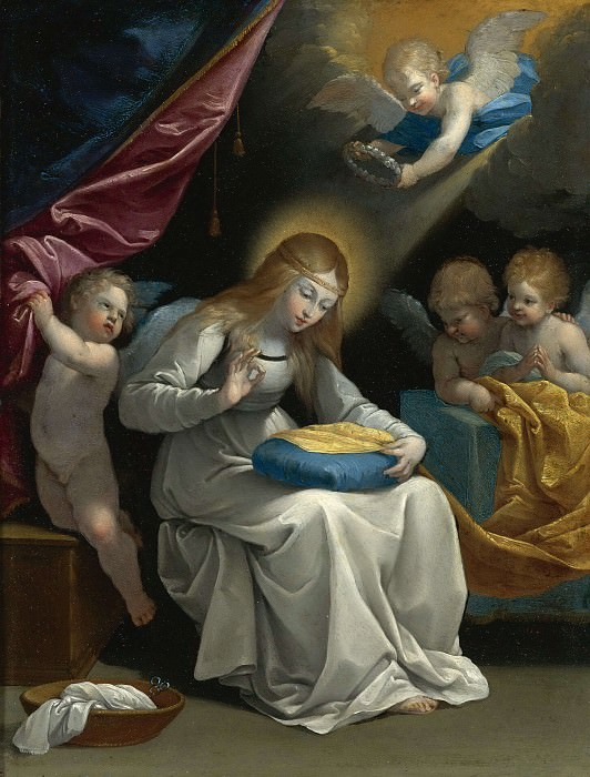 THE VIRGIN SEWING, ACCOMPANIED BY FOUR ANGELS. Guido Reni