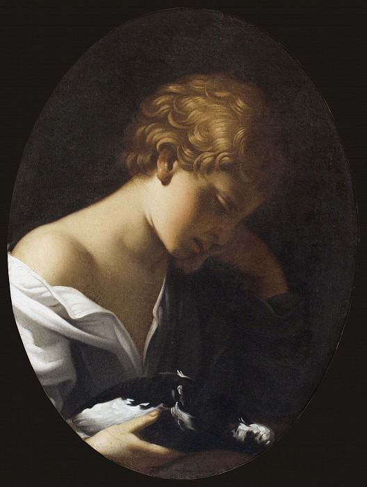 Child Holding a Dove. Guido Reni (Manner of)