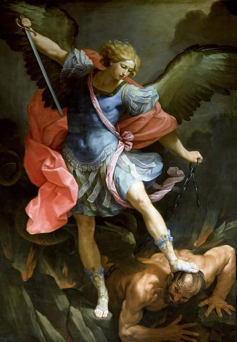Archangel Michael fighting with Satan. Guido Reni