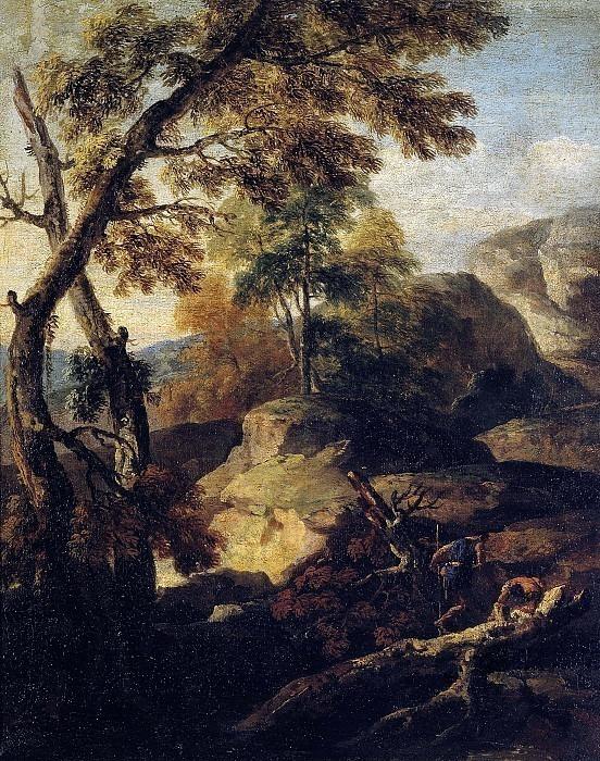 Пейзаж с деревьями и дровосеками. Марко Риччи (Последователь)