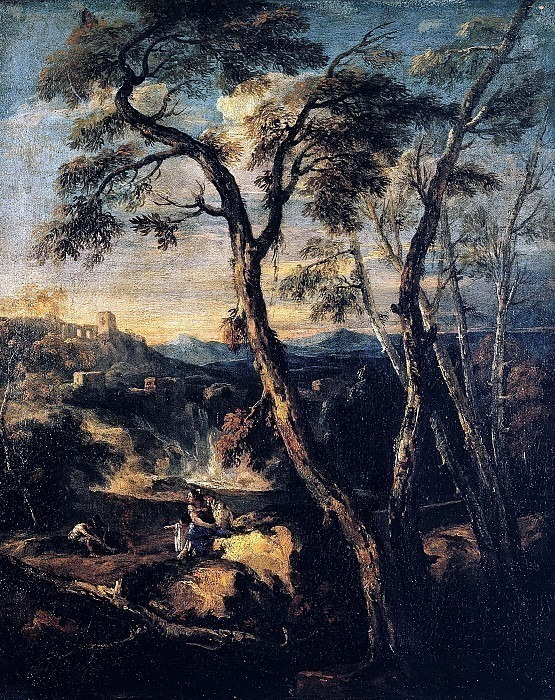 Пейзаж с водопадом и отдыхающими крестьянами. Марко Риччи (Последователь)