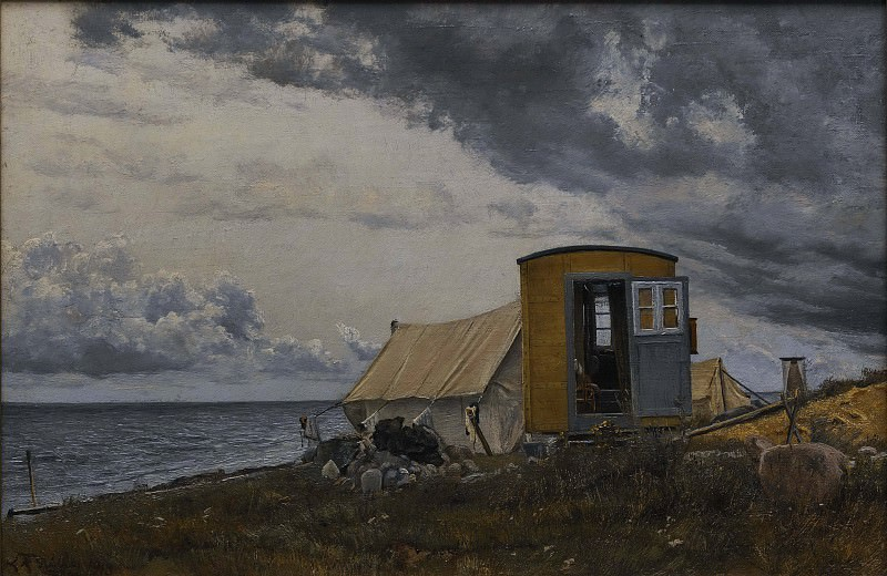 View of a Shore with the Artist's Wagon and Tent at Enö. Lauritz Anderson Ring
