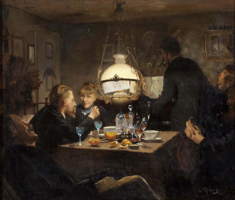 Company in evening lighting. Lauritz Anderson Ring