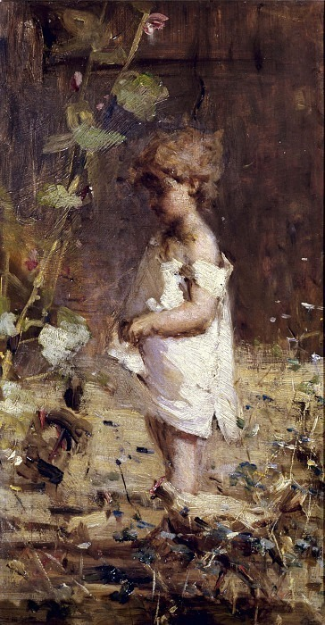 Маленькая девочка в саду. Камилло Рапетти