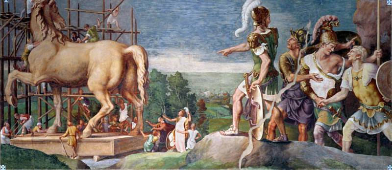 The Construction of the Wooden Horse of Troy. Giulio Romano