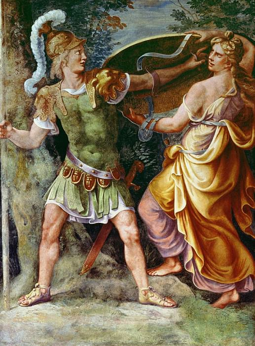 Thetis giving Achilles his arms. Giulio Romano