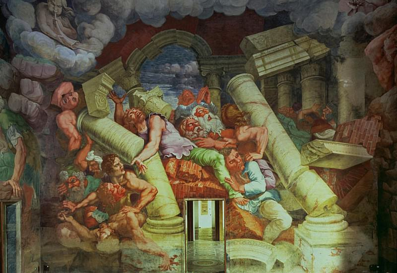 Sala dei Giganti, detail of the destruction of the giants by Jupiters thunderbolts. Giulio Romano