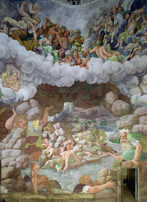 The destruction of the giants by Jupiters thunderbolts, Sala dei Giganti. Giulio Romano